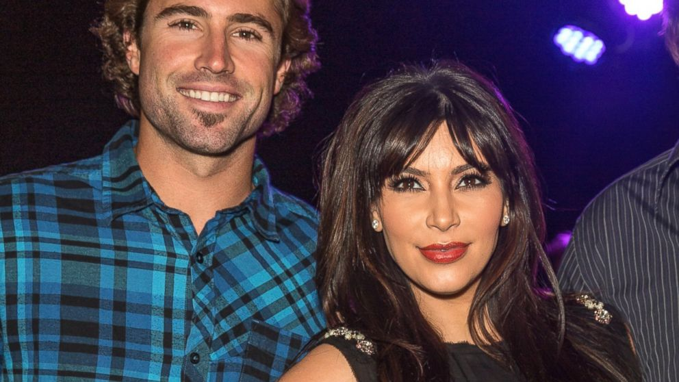 """PHOTO: Brody Jenner and Kim Kardashian attend the Brandon and Leah album release party for """"Cronies"""" in Los Angeles, April 8, 2013."""