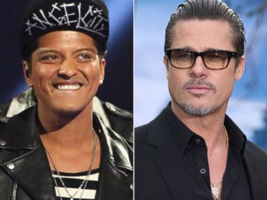 Brad Pitt Shows Off His Moves Onstage With Bruno Mars