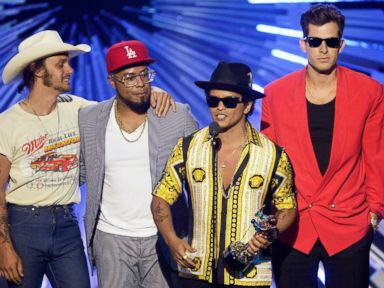 PHOTO: Bruno Mars and Mark Ronson, right, accept the Best Male Video award for Uptown Funk onstage during the 2015 MTV Video Music Awards at Microsoft Theater, Aug. 30, 2015, in Los Angeles.