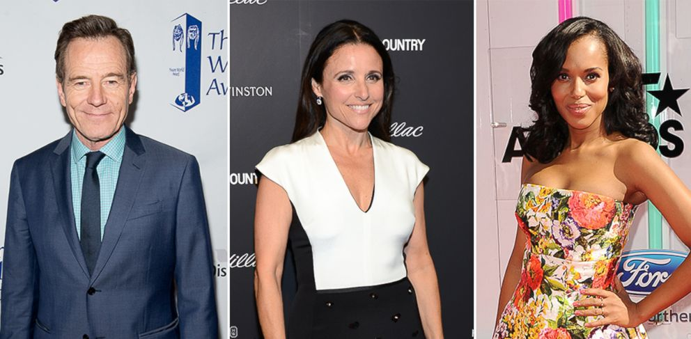 PHOTO: Bryan Cranston, Julia Louis-Dreyfus and Kerry Washington were nominated for an Emmy.