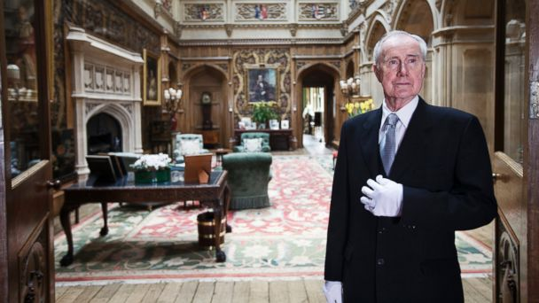 PHOTO: Colin the butler poses in the saloon at Highclere Castle, March 15, 2011, in Newbury, England.