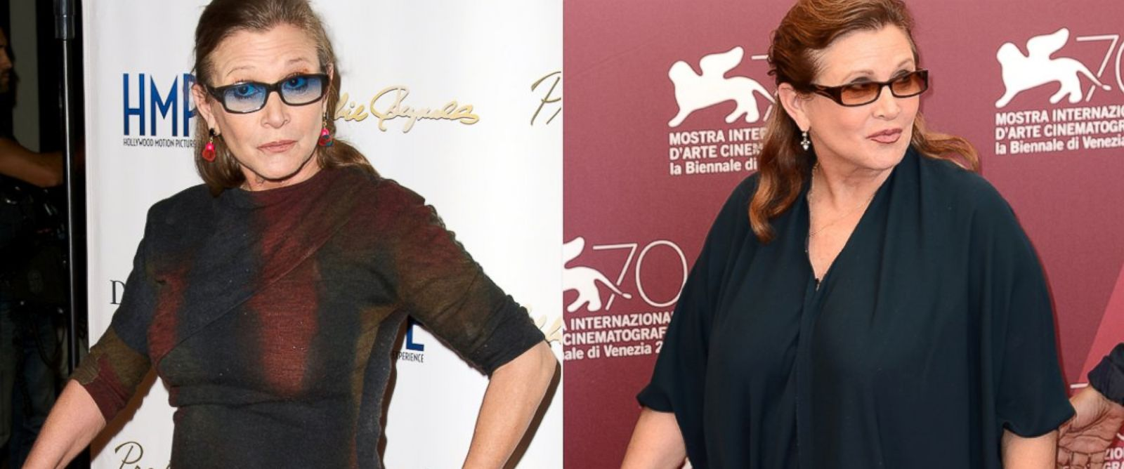 PHOTO: From left, Carrie Fisher in May 2014 and in Aug. 2013.