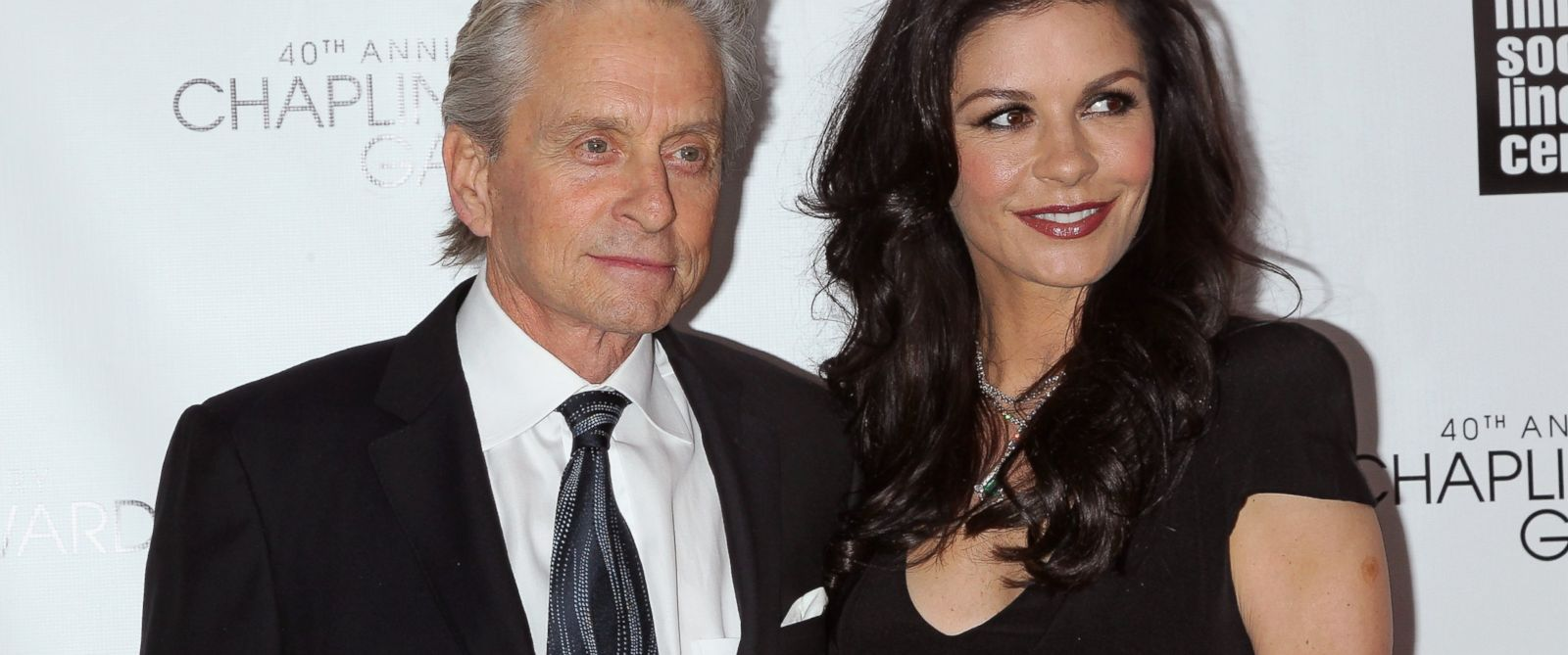 PHOTO: Actors Michael Douglas,left and Catherine Zeta Jones attend the 40th Anniversary Chaplin Award Gala at Avery Fisher Hall at Lincoln Center for the Performing Arts, April 22, 2013 in New York.