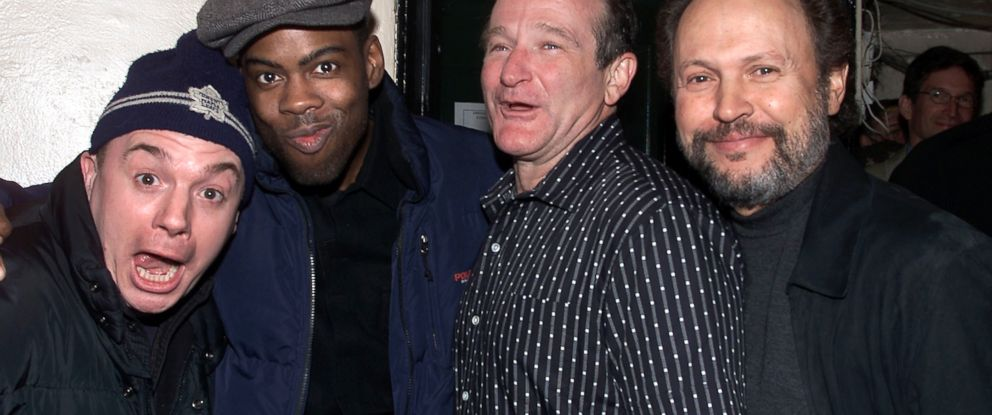 "PHOTO: Left to right, Mike Myers, Chris Rock, Robin Williams and Billy Crystal are seen backstage after a rare live performance of ""An Evening With Robin Williams"" in New York City, March 25, 2002."