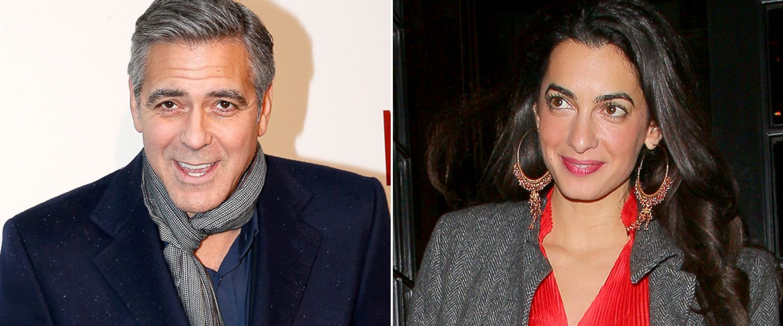 PHOTO: George Clooney, left, attends the Monuments Men premiere at Cinema UGC Normandie, Feb. 12, 2014, in Paris. Amal Alamuddin leaves Berners Tavern restaurant, Oct. 24, 2013, in London.