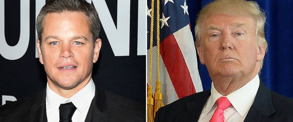 PHOTO: Matt Damon, left, and Donald Trump.