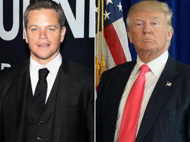 PHOTO: Matt Damon, left, and Donald Trump.
