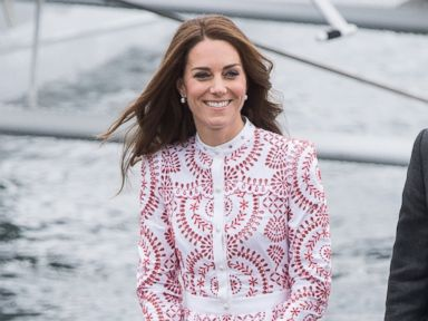 Duchess Kate Smiles in Fabulous Printed Dress