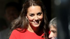 Duchess Kate Steps Out in Red Dress