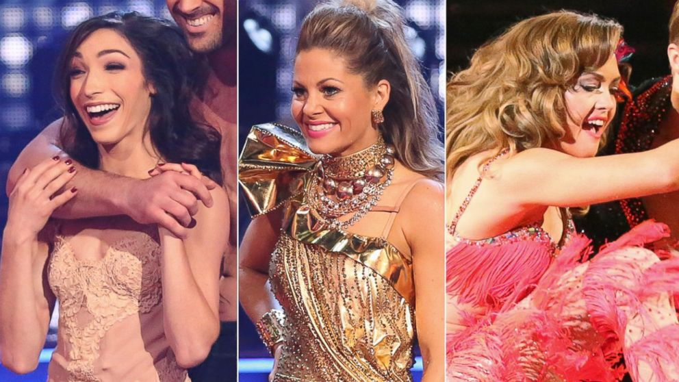 "PHOTO: Meryl Davis, Candace Cameron Bure and Amy Purdy compete on season 18 of ABCs ""Dancing With the Stars."""