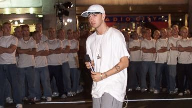 PHOTO: Rapper Eminem attends rehearsals for the 2000 MTV Video Music Awards at Radio City Music Hall in New York City in this Sept. 6, 2000, file photo.