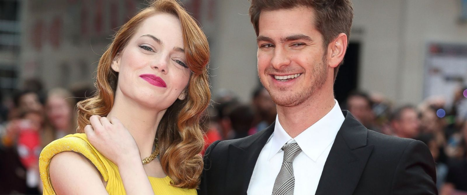 "PHOTO: Emma Stone and Andrew Garfield attend the World Premiere of ""The Amazing Spider-Man 2"" at Odeon Leicester Square on April 10, 2014 in London."