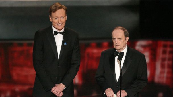 PHOTO: Conan OBrien and Bob Newhart, present the Outstanding Comedy Series in this image.