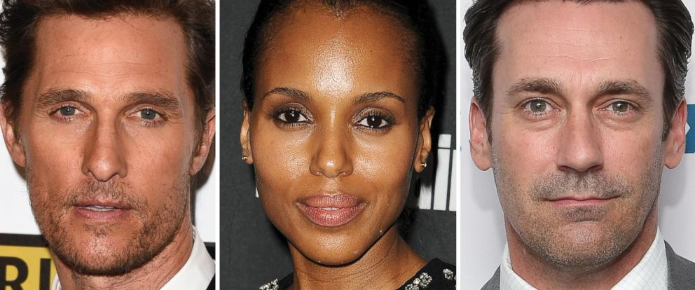 PHOTO: Matthew McConaughey, Kerry Washington and Jon Hamm are all nominated for Emmy Awards.