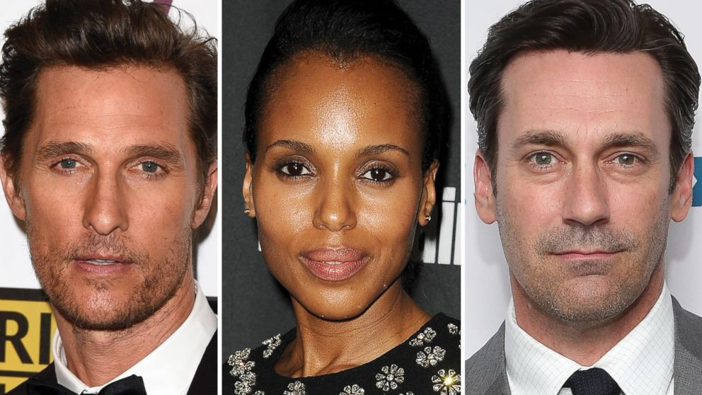 PHOTO: Matthew McConaughey, Kerry Washington and Jon Hamm are all nominated for Emmy Awards.