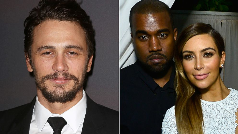 PHOTO: James Franco, Kanye West and Kim Kardashian
