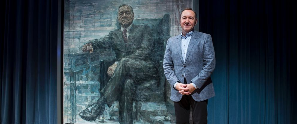 "PHOTO:Kevin Spacey poses for a photo with a portrait of his character President Frank Underwood from the series ""House of Cards""at a press conference at the National Portrait Gallery, Feb. 22, 2016, in Washington."