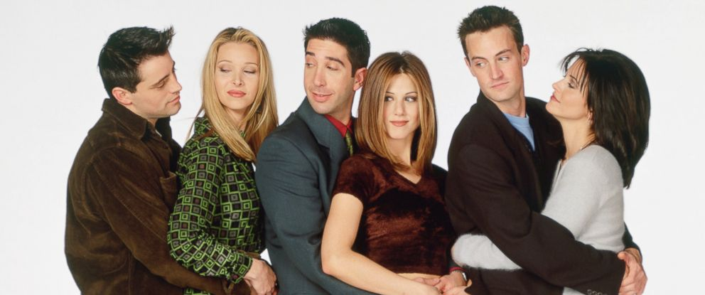 "PHOTO: From left, Matt LeBlanc, Lisa Kudrow, David Schwimmer, Jennifer Aniston, Matthew Perry, and Courteney Cox are pictured in a promotional still for ""Friends."""