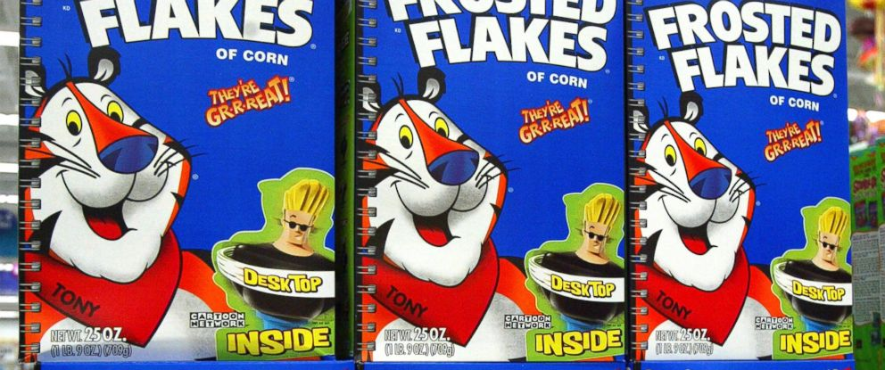 PHOTO: Boxes of Kelloggs Frosted Flakes cereal are pictured on July 28, 2003 in Rolling Meadows, Ill.