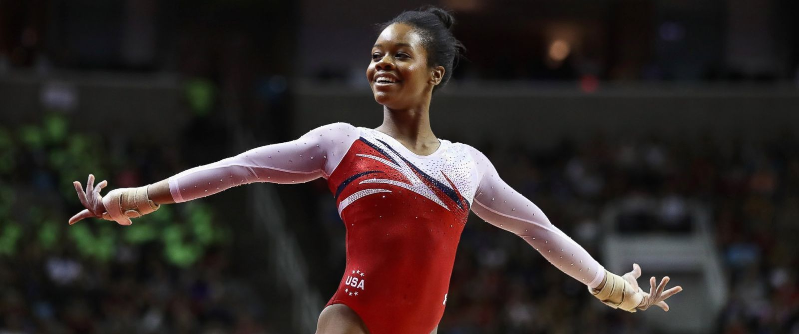 PHOTO: Gabrielle Douglas competes in the floor exercise during Day 2 of the 2016 U.S. Womens Gymnastics Olympic Trials at SAP Center, July 10, 2016 in San Jose, California.