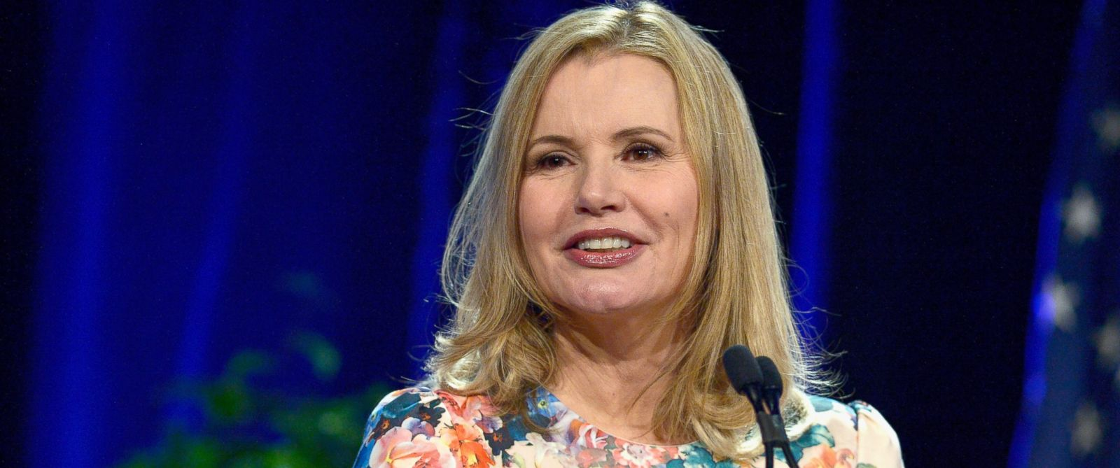"""PHOTO: Geena Davis delivers the Morning Keynote Address at the 2016 37th annual Simmons Leadership conference """"Women Leading Change"""" at Boston Seaport World Trade Center, March 29, 2016 in Boston."""