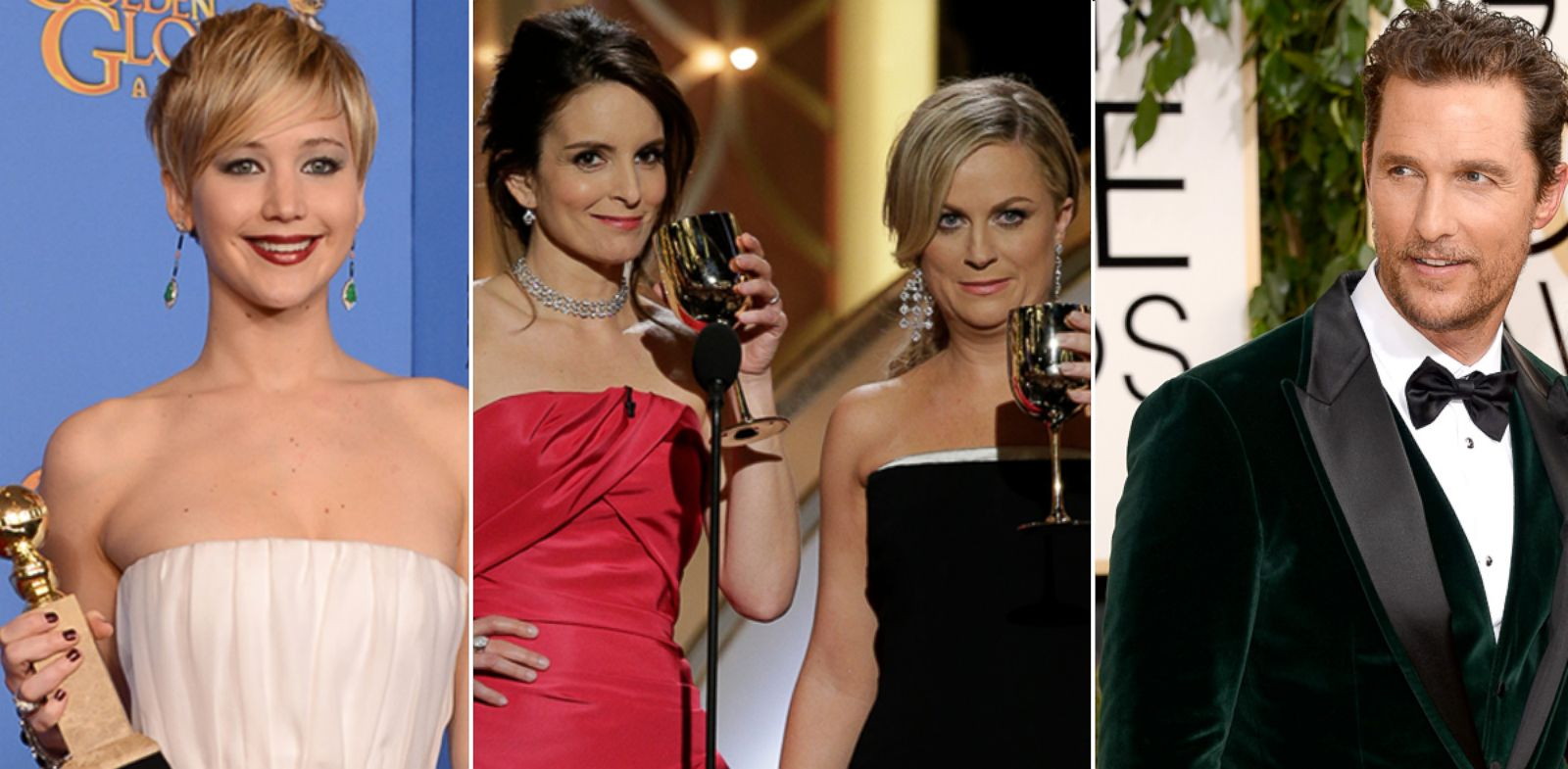 PHOTO: From left, Jennifer Lawrence, Tina Fey, Amy Poehler and Matthew McConaughey at the Golden Globes, Jan, 12, 2014.