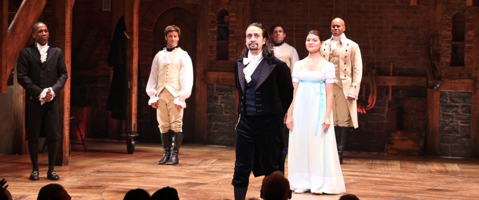 """PHOTO: Lin-Manuel Miranda with the cast during the Broadway opening night performance of """"Hamilton"""" at the Richard Rodgers Theatre, Aug. 6, 2015 in New York City."""