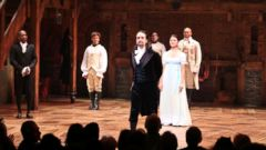 PHOTO: Lin-Manuel Miranda with the cast during the Broadway opening night performance of Hamilton at the Richard Rodgers Theatre, Aug. 6, 2015 in New York City.