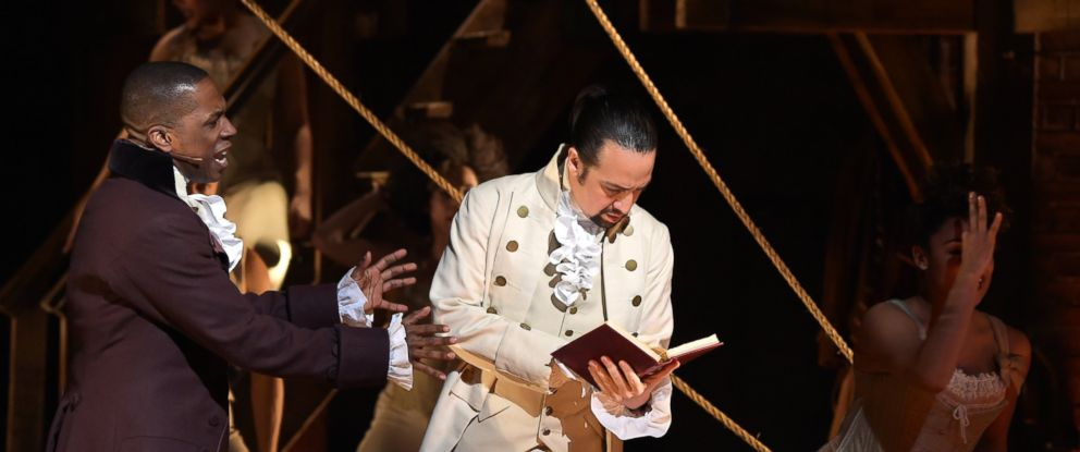 "PHOTO: Actor Leslie Odom, Jr. and actor, composer Lin-Manuel Miranda perform on stage during ""Hamilton"" GRAMMY performance for The 58th GRAMMY Awards at Richard Rodgers Theater, Feb.15, 2016, in New York."