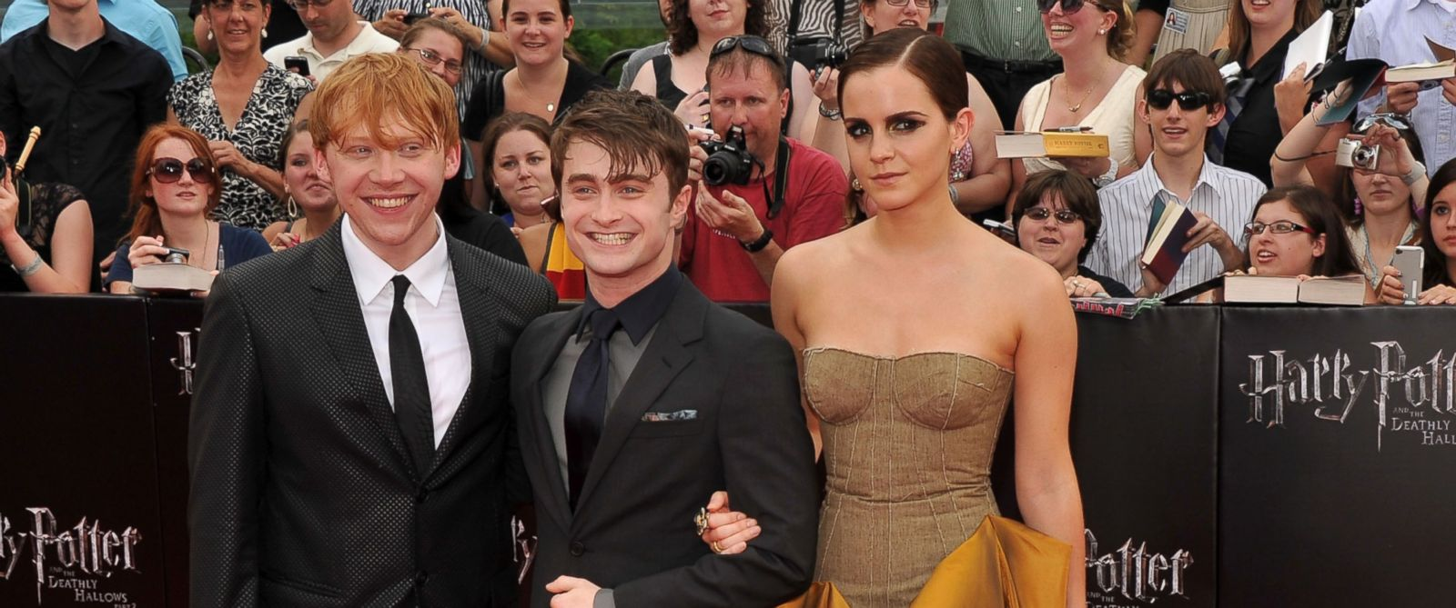 "PHOTO: Left to right, Rupert Grint, Daniel Radcliffe and Emma Watson attend the New York premiere of ""Harry Potter And The Deathly Hallows: Part 2"" at Avery Fisher Hall, Lincoln Center in this July 11, 2011, file photo in New York City."