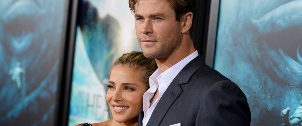 """PHOTO: Elsa Pataky and Chris Hemsworth attend """"In The Heart Of The Sea"""" premiere on Dec. 7, 2015 in New York."""