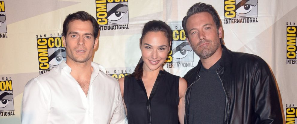 PHOTO: From left, actors Henry Cavill, Gal Gadot and Ben Affleck attend the Warner Bros. Pictures panel and presentation during Comic-Con International 2014 at San Diego Convention Center on July 26, 2014 in San Diego, Calif.