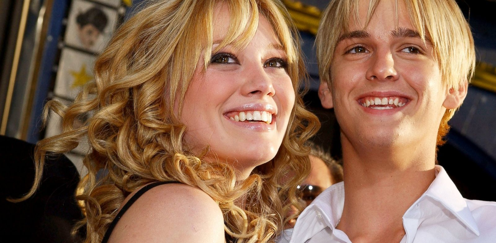 PHOTO: Hilary Duff hugs Aaron Carter as they attend the premiere of The Lizzie McGuire Movie, April 26, 2003, in Hollywood, Calif.