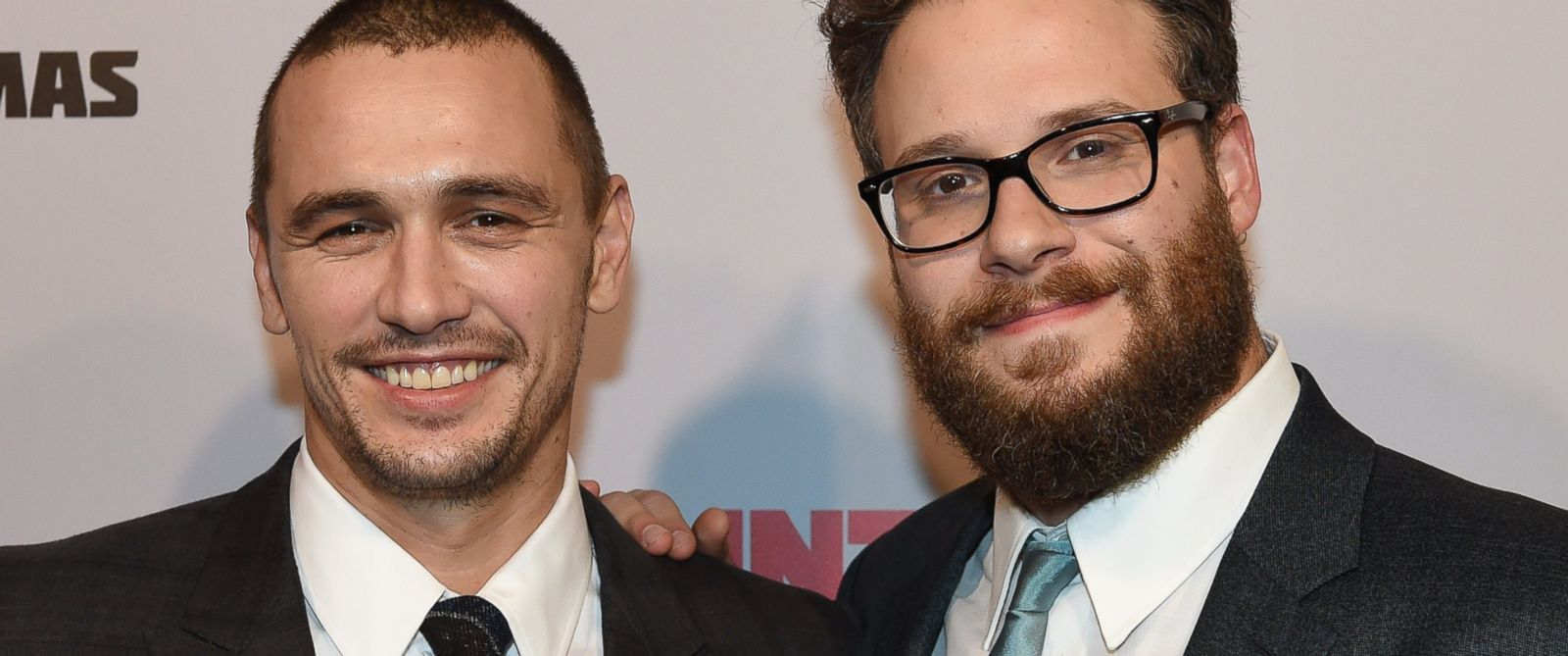 "PHOTO: James Franco and Seth Rogen arrive for the premiere of the film ""The Interview"""