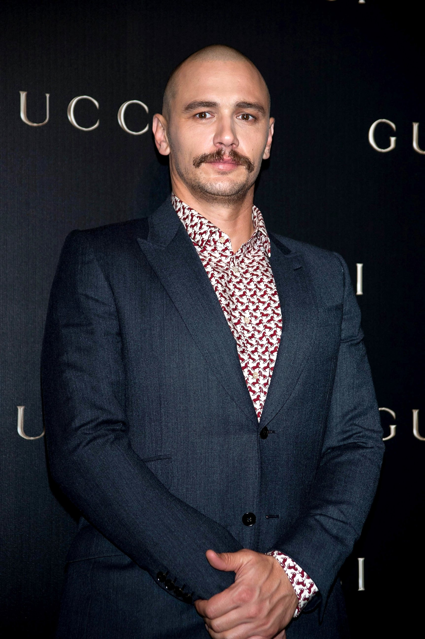 James Franco Rocks a Bald Head and a Bushy Mustache