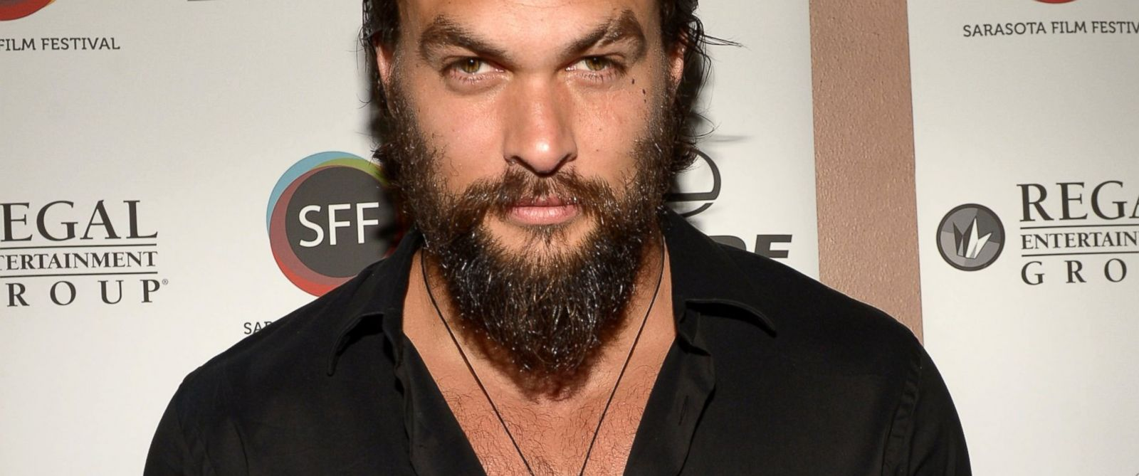 PHOTO: Jason Momoa arrives to a screening of Road to Paloma during the Sarasota Film Festival at Regal Cinemas Hollywood Stadium, April 12, 2014 in Sarasota, Fla.