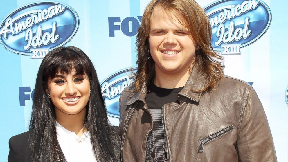 "PHOTO: American Idol Finalists Jena Irene and Caleb Johnson arrive at Foxs ""American Idol"" XIII Finale held at Nokia Theatre L.A. Live, May 21, 2014, in Los Angeles."