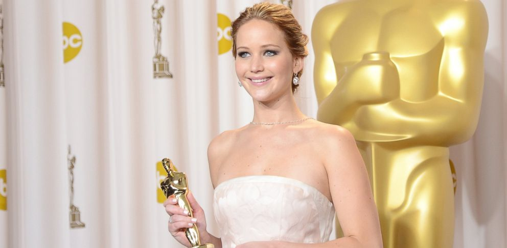 """PHOTO: Jennifer Lawrence, winner of the Best Actress award for """"Silver Linings Playbook,"""" poses during the Oscars on Feb. 24, 2013 in Hollywood, Calif."""