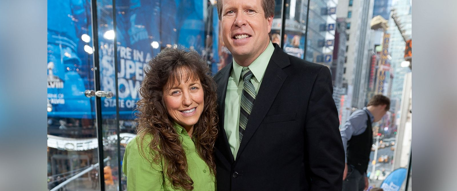 "PHOTO: Jim Bob and Michelle Duggar visit ""Extra"" at H&M in Times Square, March 11, 2014, in New York"