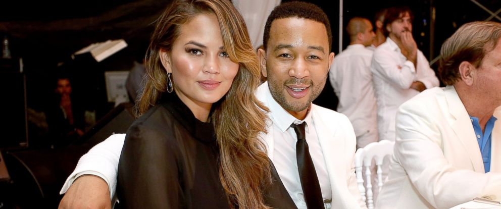 Chrissy Teigen and John Legend attend the white party dinner hosted by Andrea and Veronica Bocelli celebrating Fight Night In Italy benefiting the Andrea Bocelli Foundation and The Muhammad Ali Parkinson Center, Sept. 5, 2014, in Florence, Italy.