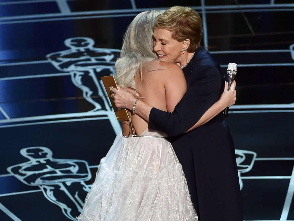 PHOTO: Lady Gaga introduces Julie Andrews onstage during the 87th Annual Academy Awards at Dolby Theatre on Feb. 22, 2015 in Hollywood, Calif.