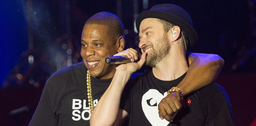 PHOTO: Jay-Z and Justin Timberlake perform on July 14, 2013 in London.
