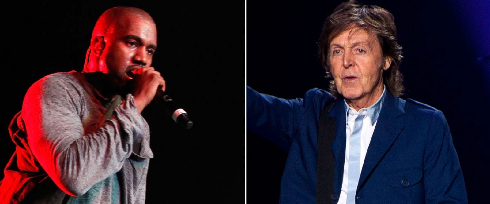 PHOTO: From left, Kanye West in New York, June 9, 2013 and Paul McCartney in Atlanta, Oct. 15, 2014.