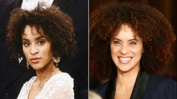 "PHOTO: Karyn Parsons, left, as Hilary Banks in ""The Fresh Prince Of Bel-Air."" Karyn Parsons-Rockwell, right,  attends the 8th Rome Film Festival on Nov. 9, 2013 in Rome.  ."