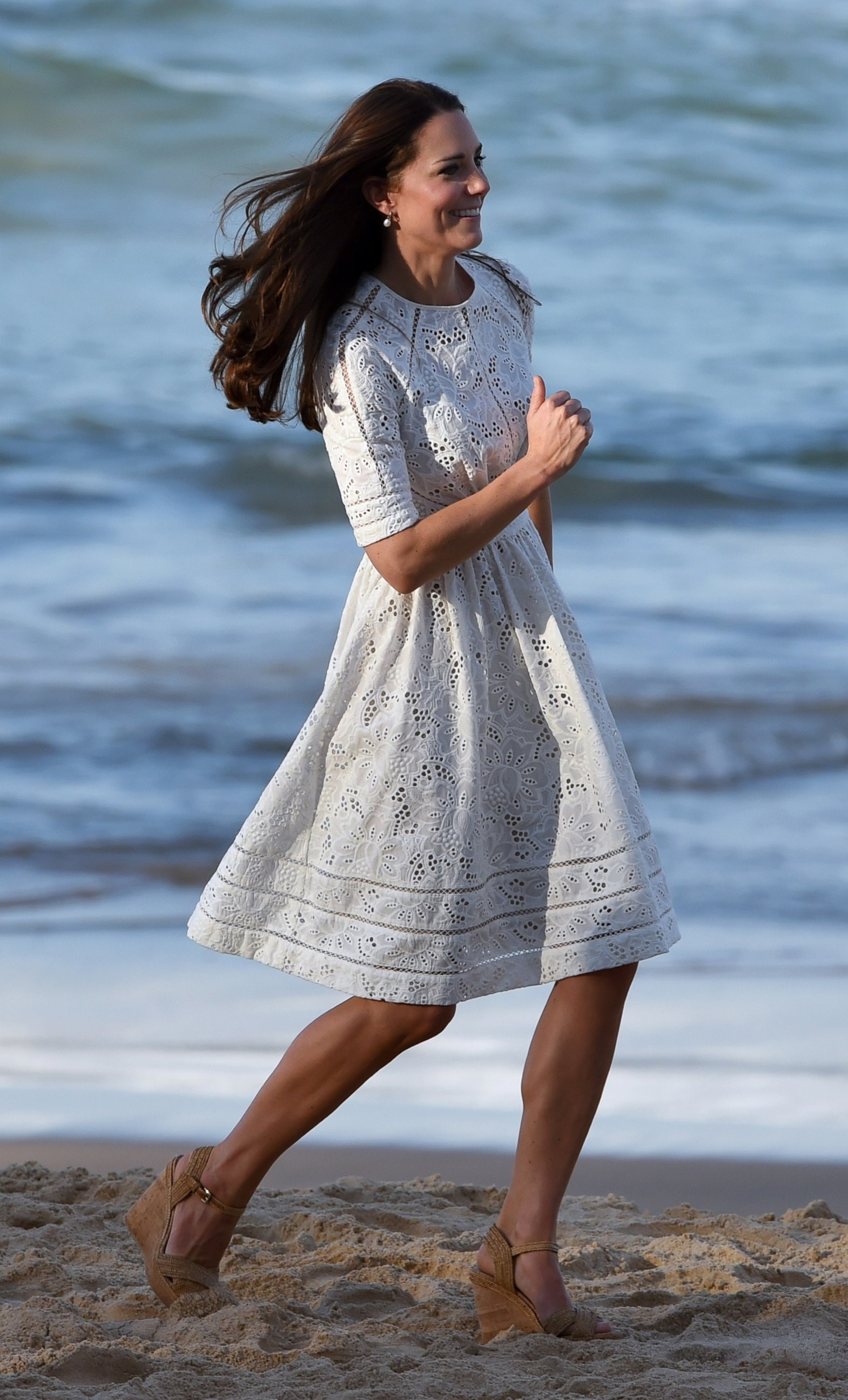 Kate Middleton Runs on the Beach in Heels