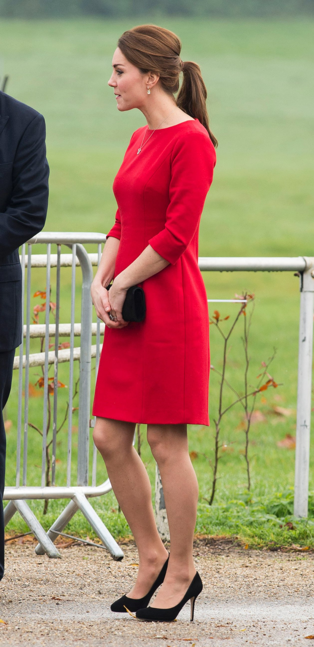 Kate Middleton Attends a Charity Launch in Red