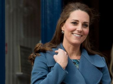 Duchess Kate Shows Off Her Baby Bump in Blue
