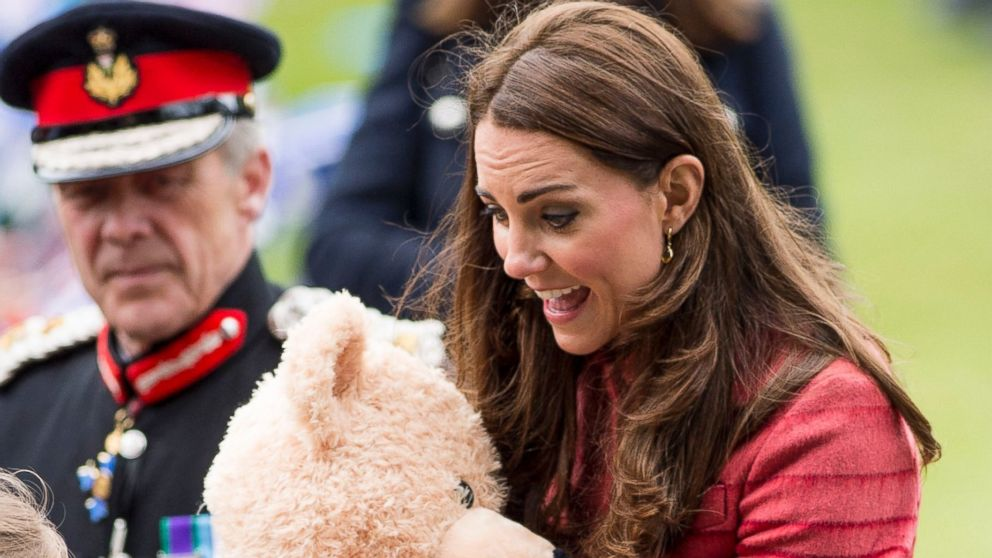 PHOTO: Catherine, Countess of Strathearn is presented with a teddy bear as she visits the newly restored MacRosty Park, Crieff, Perthshire on May 29, 2014 in Perth, United Kingdom.