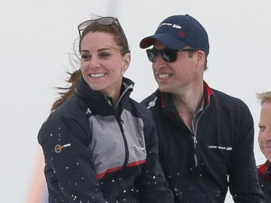 PHOTO: Catherine, Duchess of Cambridge and Prince William, Duke of Cambridge ride in the front of a boat as they watch the Americas Cup World Series Race on the Solent, July 24, 2016, in Portsmouth, United Kingdom.