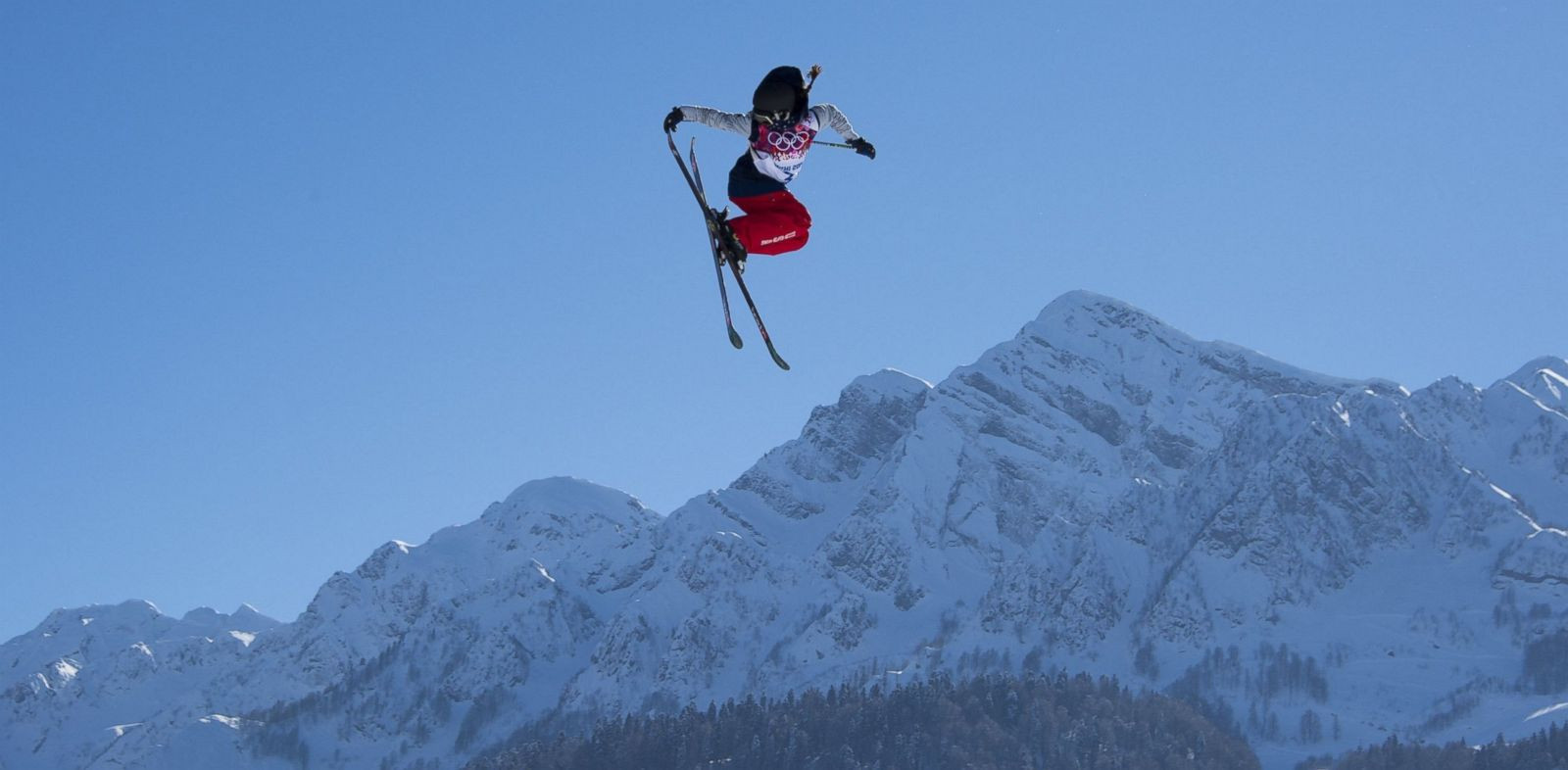 PHOTO: U.S. Olympic freestyle skier Keri Herman flies off the final jump during the ladies ski slopestyle training on Feb. 5, 2014 in Sochi, Russia.